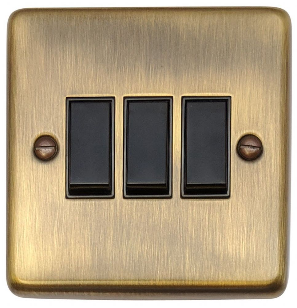 G&H CAB3B Standard Plate Antique Bronze 3 Gang 1 or 2 Way Rocker Light Switch